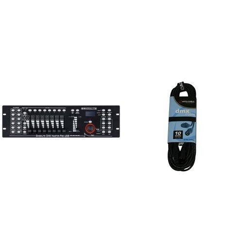 Programmierbare Lichtsteuerung (Showlite Master Pro 192 Kanal DMX Controller (zur professionellen Lichtsteuerung, USB Anschluss zur Datenspeicherung, max. 240 Szenespeicher, Midi-Input: 5-pol Standard Interface) + ACCU CABLE - AC-DMX3/10 - Professionelles DMX Kabel 110 OHM, 3pin, 10 Meter Bundle)
