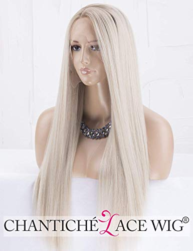 Chantiche Natural Looking Dark Roots Long Ombre Blonde Wig Straight Hair Synthetic Lace Front Wigs UK for Women Side Part Heat Resistant Fiber 22 Inches (Bearbeiten Halloween-ihr Foto)