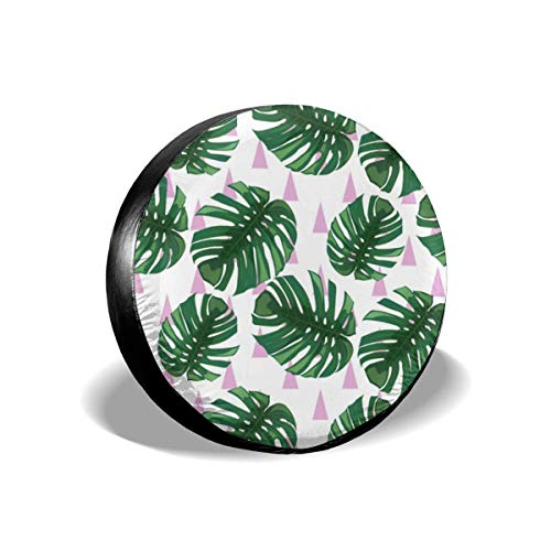 Belleeer Reserveradabdeckung, Tire Cover Green Tropical Leaves Pattern Potable Polyester Universal Spare Wheel Tire Cover Wheel Covers for Trailer RV SUV Truck Camper Travel Trailer Accessories -