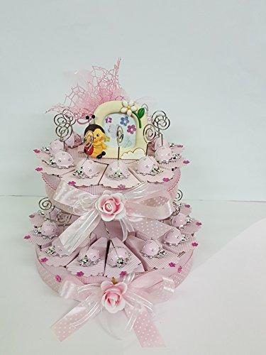 Torta bomboniere coccinelle portamessaggio rosa da 25 fette battesimo comunione cresima promessa nascita compleanno completa di bigliettino (2 piani)