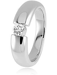 Diamond Line Damen - Ring 585er Gold 1 Diamant ca. 0,25 ct. getöntes Weiß Lupenrein, weißgold/gelbgold