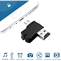 Alcey Adaptador de Lector de Tarjetas Micro SD/TF con USB OTG, Conector Micro B para teléfonos inteligentes Android, tabletas, computadoras y computadoras portátiles
