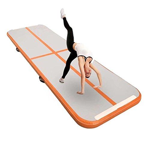"""Aufblasbar Gymnastik Tumbling Matte Air Track Weichbodenmatte für Zuhause, Cheerleading, Strand, Park und Wasser-inklusive Steuer (118""""x39"""",Orange)"""