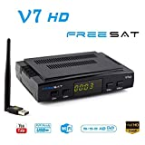FREESAT V7 HD Decoder Satellitare Digitale TV Sat Ricevitore DVB-S2 con Antenna Wifi USB 1080P Full HD PVR