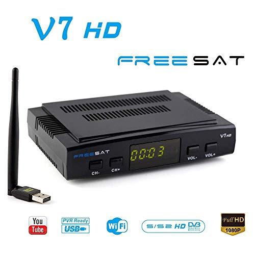 FREESAT V7 HD DVB-S2 Receptor TV Satélite Decodificador Digital Satelite  con Antena WiFi USB / 1080P Full HD Soporte PVR Cccam