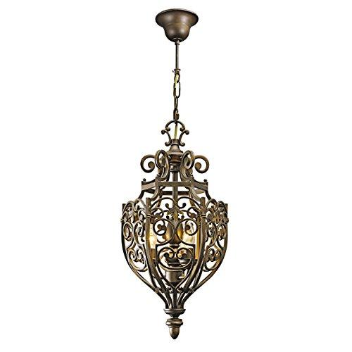 Lampadario da soffitto pendente ferro battuto in stile rustico per casa 164 cm lunghezza Ø30cm 3-bulb exl, E14 3x60W 230V