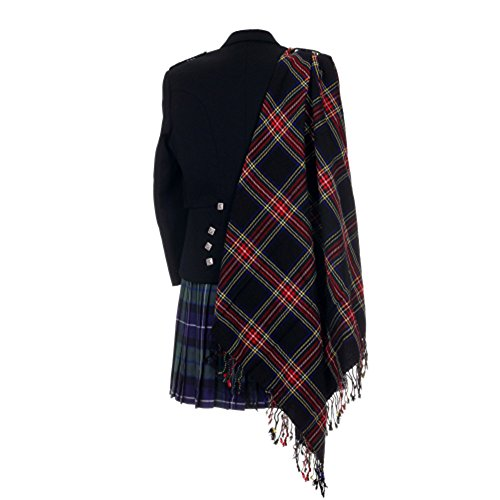 Schottische Tartan-plaid (Stewart Tartan Scottish schwarz Purled Fransen Haushaltsplans Fly Tartan Plaid)