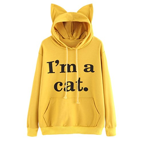 Bluestercool Sweat à Capuche Femmes Manche Longue Chat Sweat-Shirt Tops Jaune