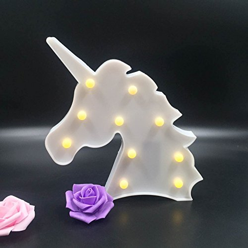 Trendario LED Nachtlicht für Kinder, Kinderzimmer Baby Tischlampe, batteriebetriebene Lampe als Party Deko Nachtlampe, Nachtlicht Wandleuchte (Einhorn, weiß)