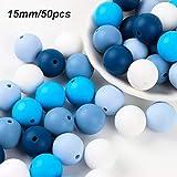 Silikonperlen Schnullerkette Selber Machen Baby Spielzeug Zahnen Silikon Perlen Beißring Diy Silikon-Perlen-Kit DIY-Dummy-Clips Kinderkrankheiten Halskette Armband (Blau)