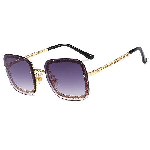Yangjing-hl Europa und die Vereinigten Staaten Metallkette Quadrat Mode Sonnenbrille Brille im Freien dekorative Sonnenbrille Goldrahmen/Double Grey Tabletten