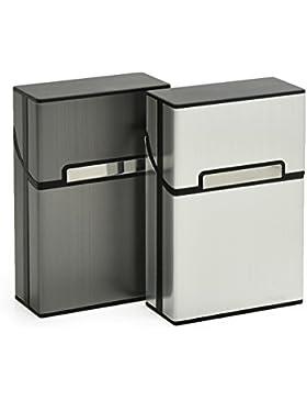 Fashionbabies Caja de cigarrillo de aluminio de 2 PCS, cubierta protectora del cigarro de la caja de cigarrillo