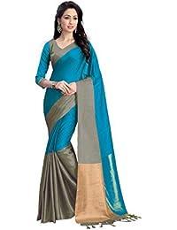 Venisa Women's Cotton Saree With Blouse Piece (28797, Sky Blue, Free Size)