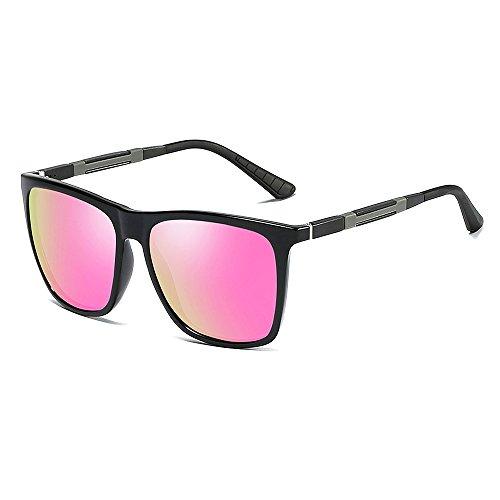 VeBrellen Retro Al-Mg Rahmen Polarisiert Sonnenbrille Herren Sportbrille VS001 (Black Frame Pink Lens)