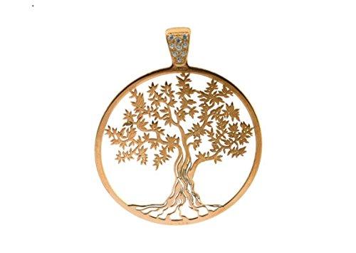 Pendente Albero della Vita in argento 925 sterling placcato oro rosa,diametro 35mm,grammi 2,7