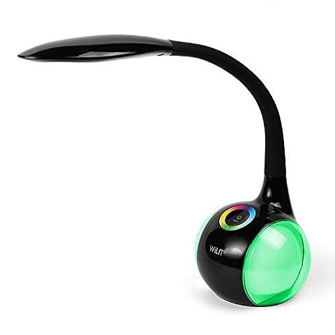 WILIT® HZ T3 5W dimmbare LED Schreibtischlampe/Atmosphärenlampe mit Schwanenhals und Touchfeld für Farblicht und 3 Helligkeitsstufen, schwarz
