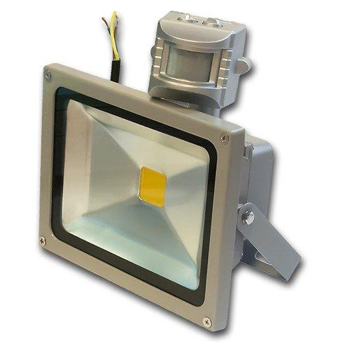 1x LEDVero 20 Watt LED Flutlicht MIT Bewegungsmelder Strahler Baustrahler - Silber
