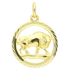 MyGold Sternzeichen Anhänger Stier (Ohne Kette) Gelbgold 333 Gold (8 Karat) Diamantiert Innen Offen Ø 15mm Rund Tierkreiszeichen Horoskop Goldanhänger Gavno A-04433-G302-Sti