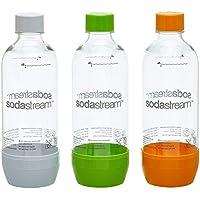 sodastream 1041340490 Bottles/PET Plastic/Grey/Pack of 3, Multicoloured