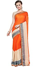 [Sponsored Products]Kvsfab Orange & Multi Color Printed Georgette Saree(KVSSR09SPT)