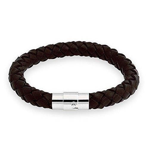 Bling Jewelry Brown Unisex intrecciato rotondo del cavo 8 millimetri braccialetto di cuoio da 8 (Brown Bracciale In Pelle Intrecciato Il Braccialetto)