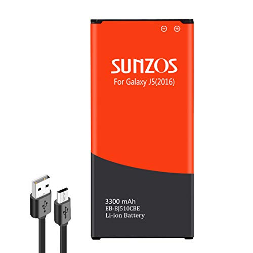 SUNZOS Akku für Samsung Galaxy J5 (2016) SM-J510FN/DS 3300mAh Ersatz Original EB-BJ510CBE Batterie Accu - 3 Jahre Garantie
