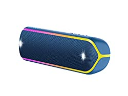 Sony SRS-XB32 kabelloser Bluetooth Lautsprecher (tragbar, NFC, farbige Lichtleiste, Extra Bass, Stroboskoplicht, wasserabweisend, kompatibel mit Party Chain) blau