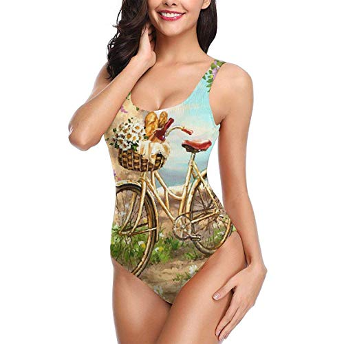 Hipiyoled Einteiliger Damen Bikini Badeanzug Bicycle Red Wine Daisy Flower Basket Sexy Summer Beach Monokini Halter Bathing Suit - Daisy-bikini-badeanzug