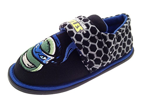 Nickelodeon Enfants garçons Teenage Mutant Ninja Turtles Chaussons Mules TMNT Slip on/Crochet et Boucle pour Enfants Chaussures Taille UK 6-1 - Bleu - Turtle Face Image - Bagged,