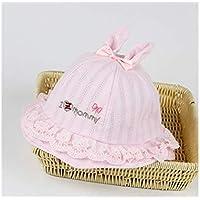FOUGNOGKISSS Baby Bowknot Ear Packable Soft Cap Toddler Protección Solar Sombrero Sun Visor por 3-10 Meses (Azul) (Color : Pink, tamaño : 46cm)