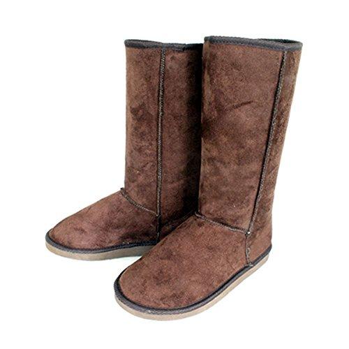 sendit4me Ladies Fur Lined Flat Upper Calf Length Suedette Boots Brown