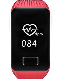Omadiol Orologio Digitale, Fitness Tracker Cardiofrequenzimetro Sonno Ossigeno Monitor Orologio con Pedometro Contacalorie Orologio Intelligente Fitness Impermeabile per Bambini Donne Uomini, Red