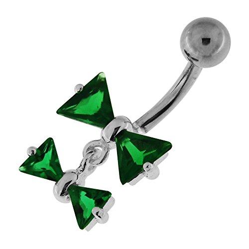 Bow Tie Double fantaisie pendantes en argent 925 avec acier inox Belly Vert foncé