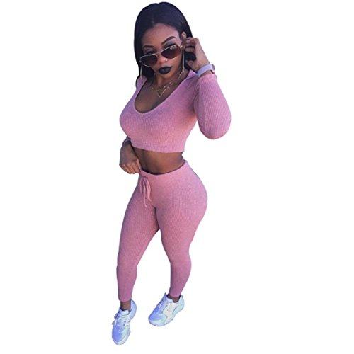 Sannysis Damen Geteiltes Beiläufiges Bodycon Outfit Sportswear (S, Rosa) (Vorne Mädchen Kurze Reißverschluss Ärmel)