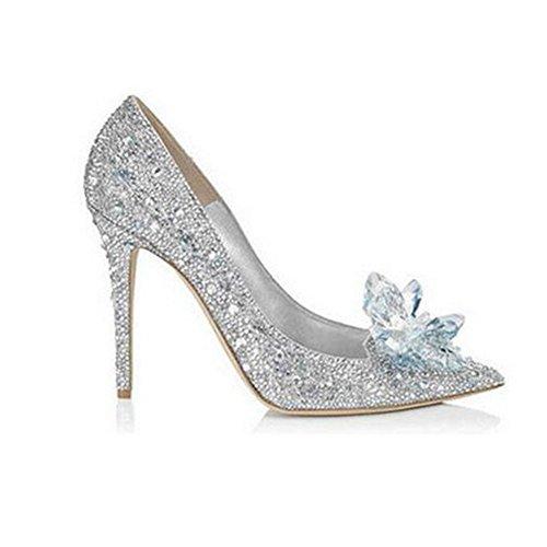 YIXINY Escarpin D4118 Unique Chaussures Femme PU Strass Mince Talon Pointu Shallow Bouche De Mariage 7 CM Haute Talons Argent