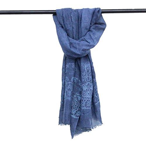 Donna Sciarpa Irregolari Crepe Folds Vintage Cotone Sciarpa Scialle darkblue