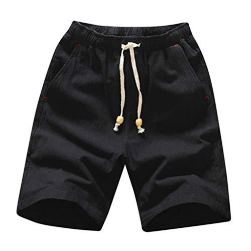 Beikoard Pantalones Cortos Deportivos Hombre,Pantalón Corto de Lino de algodón con cordón Ajustable de Bolsillo de Moda de Verano para Hombre,Bañadores de Natación Hombre