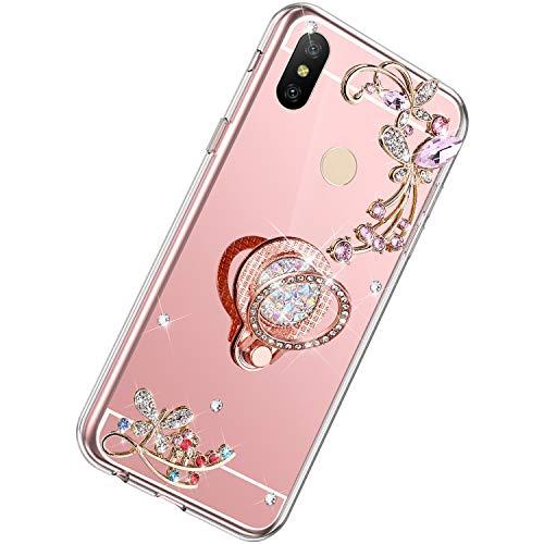 Herbests Compatibles con Xiaomi Mi Max 3 Funda de Silicona Ultra Delgado con Anillo Soporte Estuche con Brillo Brillante Diamante Strass TPU Suave Bumper Mirror Case,Oro Rosa