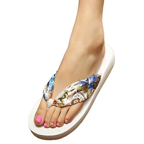 YOUJIA Femmes Tongs été Chaussures de plage Bohême Satiné Plateforme Sandales Blanc Or