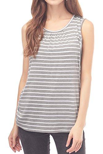 Smallshow Umstandsmode Damen Stillshirt T-Shirt Umstandstop Umstandsshirt Schwangerschaft Stilltop Tank Ärmellos, Graue Streifen, L -