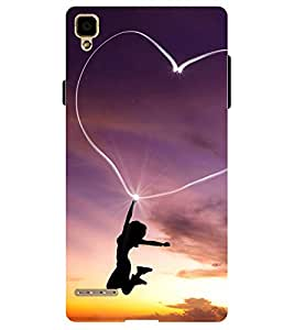 Chiraiyaa Designer Printed Premium Back Cover Case for OPPO F1 (boy girl friend valentine miss kiss heart girl sun) (Multicolor)
