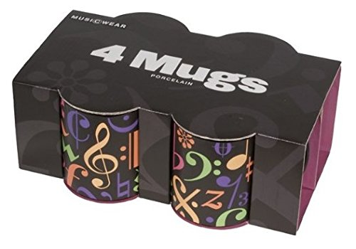 MUSIC SALES FINE CHINA MUG 4 PACK - MUSIC SYMBOLS Tassen & Kochutensilien 4 Fine China
