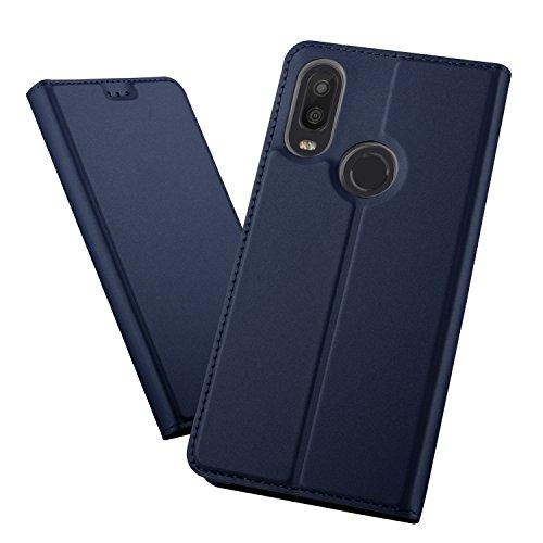 XINKO BQ Aquaris X2/X2 Pro Wallet Tasche Hülle - [Ultra Slim][Card Slot][Eingebauter Magnet] Flip Wallet Case Etui für BQ Aquaris X2/X2 Pro - Glatt series blau
