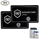 URAQT 2X Carte de Blocage RFID/NFC, 3X Manches de Blocage RFID, 2X Protecteur de Passeport RFID,Le Portefeuille est entièrement protégé, Bloquage RF, Ultimate Identity Vol Protection
