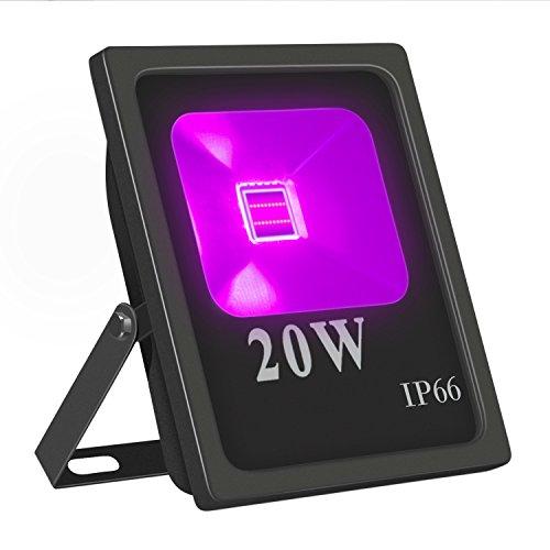 (UV LED Flutlicht, Hohe Leistung 20W UV Blacklight 85V-265V AC IP66 Wasserdicht für Partys, Aushärtung, Kleber, Blacklight, Angeln, Aquarium mit Stecker)