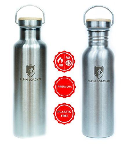 Alpin Loacker Edelstahl Trinkflasche Sport 750ml bpa frei Wasserflasche