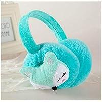 SUPRERHOUNG Cartoon Fox Muffs Warm Plush Ear Warmers Invierno Outdoor Earmuffs para Niños (Rosa) (Color : Azul, tamaño : 12cm)