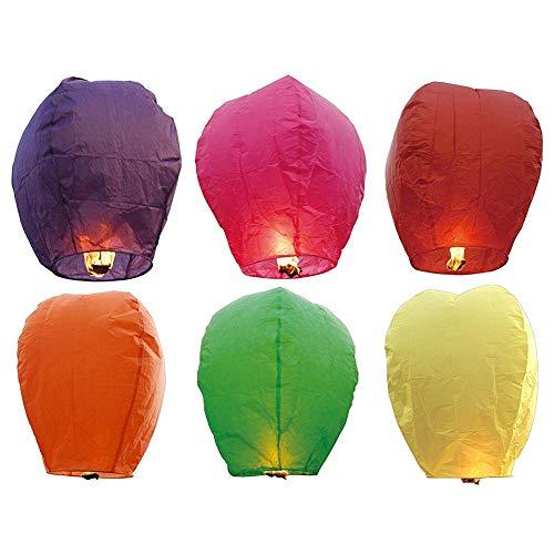 Miji 12 stück chinesisches Papier fliegen Laternen Himmel-Laternen mit Kerzen für Kinder Gemischte Farben (Grüne Schwimmende Kerzen)