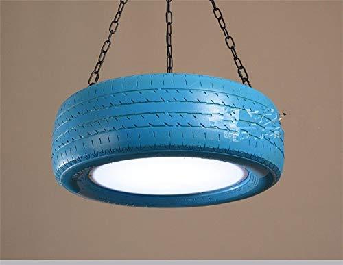 Zhang Yan ZYY * Pendelleuchte Kronleuchter Vintage Shabby Retro Farbe Reifen Licht Loft Restaurant, Bar Studio Bar Lampen, Blau 18W Weiß 40Cm