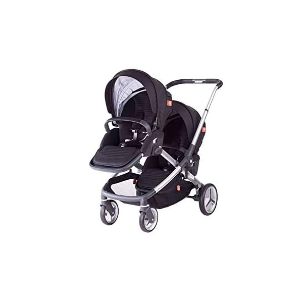 MYRCLMY Baby Strollers Double Pushchair Twins Tandem Pushchair,Lightweight With Convertible Bassinet Stroller Extended Canopy/Large Storage Basket MYRCLMY *LIGHTWEIGHT - Travel-friendly lightweight design is perfect for traveling and day trips. *EXTRA SPACE - Multi-position tilting seat and rotating calf support can be easily adjusted to ensure baby comfort; large storage basket and two integrated seat back pockets provide extra space for your baby. *RECLINING SEAT -- Reclining seat offers 5-point safety restraint system and accommodates child to 50KG per seat. 1